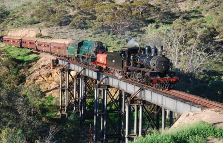 Crossing Waukarie Creek bridge. Credit: pichirichirailway.org.au